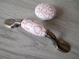 Wholesale 3 quot Dresser Drawer Pulls Knob Handles Kids White Ceramic Pink Heart Girls Cabinet Handles Knobs Handle Hardware Childrens Dresser Pull mm