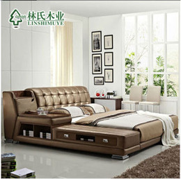 Wholesale modern genuine leather bed double person sofa bed storage bed m m affordable in home delivery by boat withou mattress