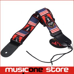 Wholesale 5pcs New American USA Flag Print Genuine Leather Ends Adjustable Acoustic Guitar Strap Bass with Pick Holder MU0387