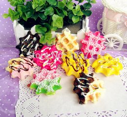 Wholesale 30pcs SP112 Simulation Food Cute Squishy Realistic Yummy Waffle Cell Phone Charm With Sauce And Rainbow Sprinkle Toppings