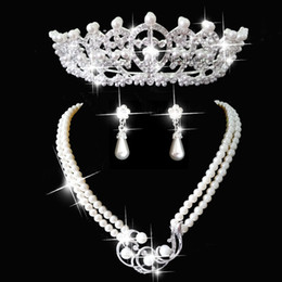 Wholesale Luxury Romantic Wedding Bridal Jewelry Earring Necklace Crowns Tiaras Pearl Crystal Beading Rhinestone Wedding Accessories ZYY