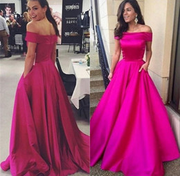 Fuchsia Prom Party Dresses with Pocket 2018 Sexy Off the Shoulder Long Ruched A Line Celebrity Formal Evening Gowns Custom Made