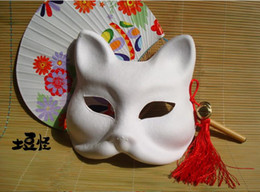 Wholesale 3 Diy Paper Pulp Blank Mask Can be Painted Fox Mask Endulge Japanese Half Face Halloween Masquerade Cosplay Party Mask