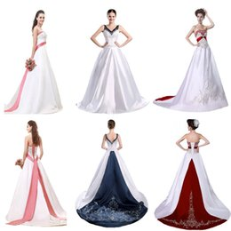 Red White Strapless Wedding Dresses Empire Embroidery A Line Vintage Pink Wedding Dress Long Royal Blue Wedding Gowns Bridal Gown Plus Size