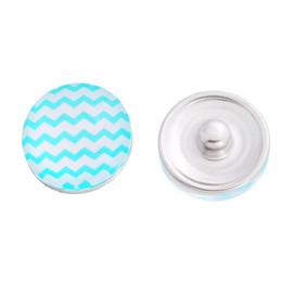 18MM glass cabochon colorful wave srtipe printed snap buttons Fit 5.5mm dia Fastener DIY Noosa Ginger Snap Bracelet Buttons