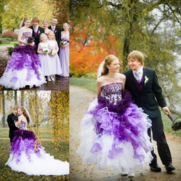 Purple and White Ombre Gothic Wedding Dresses Strapless with Lace and Organza Appliques Cascading Ruffle Chapel Train Ball Gown Bridal Dress