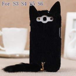 Wholesale-Korean 3D Cute Plush S3 S4 S5 S6 Cat Ear Tail Case Cover For Samsung Galaxy S3 i9300 S4 S5 S6 Black White Pink Rose Colors Case