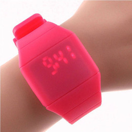 Wholesale 2015 Unique Unisex Unisex touch screen Led watch Jelly ultra thin table Christmas gift Clock hour timer Water resistance