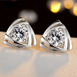Top quality 925 sterling silver items crystal jewelry stud earrings triangle shaped charms ethnic vintage new