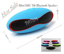 Wholesale Mini X6U X6 Rugby Football Stereo Speaker Subwoofers Mini Speakers Portable Soccer Wireless Bluetooth Speakers With U Disk TF Card Mic PA