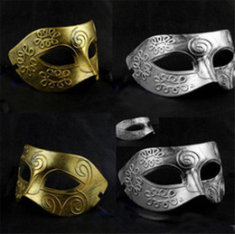 Wholesale Christmas Party Face Mask - Costume Party Mask Men's retro Greco-Roman Gladiator masquerade masks Vintage Golden Silver Mask silver Carnival Mask Halloween D150