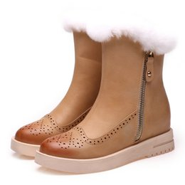 Wholesale NEW Brand moolecole Super Warm Winter Snow boots Woman Half Boots girl Casual boots Black Fashion Rabbit hair warm antiskid snow boots