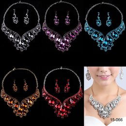Wholesale Luxurious Crystal Colors K Gold Plated Metal Ear Stud type Necklace and Earring Set For Wedding Bridal Party