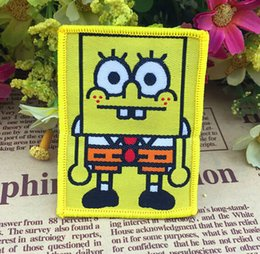 Wholesale 4 x cm Bob yellow cartoon Sew on Woven label biker vest patches Animated embroidered coat bag accessories