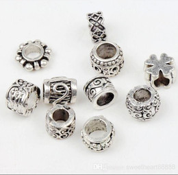 Wholesale New Styles Tibetan Silver Flower Dots Spacer Charms Beads Fit European Bracelet Loose Beads Jewelry DIY