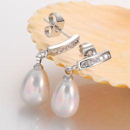 Wholesale 2015 New European and American Party Wedding Fashion Waterdrop Shining Big Pearl Stud Earrings For Women Oorbellen voor vrouwen