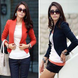 2015 New Casual Autumn Winter Women Outwear Coat Jacket Long Sleeve Shrug Crop Suit Jacket Woman Clothing Bolero Cardigan 0614