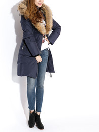 Manteau d'hiver véritable en fourrure à vendre-TRISH NAVYBLUE FEMME LONG WINTER DOWN COAT MADAM LONG PARKAS COLLAR REAL FUR HOOD ALIGNÉ RABBIT FUR