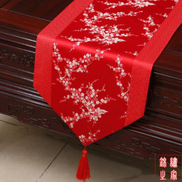 Elegant Chinese knot Decorative Wedding Reception Table Runners Luxury Silk Brocade Patchwork Cherry blossoms End Table Cloth