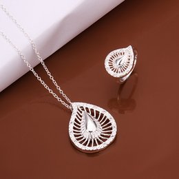 High grade 925 sterling silver Hollow water droplets Set jewelry sets DFMSS495 Factory direct sale wedding 925 silver necklace ring