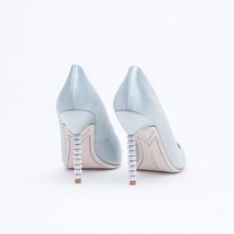 Elegant Silk Blue Wedding Shoes Pumps For Brides Crystals Heels Slip-ons Bridal Shoes 7cm 10cm High Heel Stilettos Rhinestone Wedding Shoes