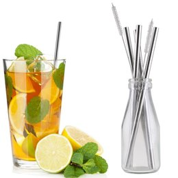 Wholesale Straight Metal Stainless Steel Drinking Straws Cleaner Brush New east