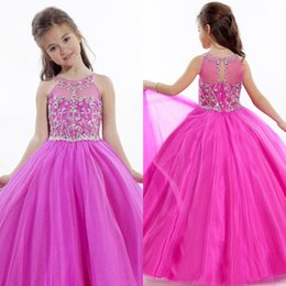 Stunning New 2018 Communion Sleeveless Keyhole Back Ball Gown Puffy Girls Pageant Dresses with Beading Lovely Flower Girl Dresses
