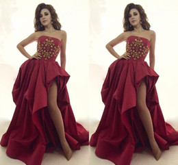 Dark Red Prom Dress Myriam Fares Sexy Formal pagent Dresses Back Zipper Vestidos de festa Formal Evening Gowns With Gold Beading