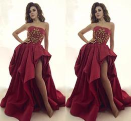 Dark Red Prom Dress Myriam Fares Sexy Formal pagent Dresses Back Zipper Vestidos de festa Formal Evening Gowns With Gold Beading