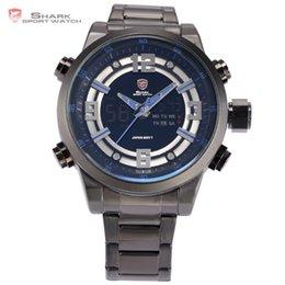 Wholesale Shark Luxury Brand LCD Digital Auto Date Day Display Black Blue Alarm Setting Quartz Male Clock Sport Men Military Watch SH341