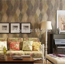 Wholesale American PVC Wallpaper Vintage Leather Diamond Brick D Embossed Texture Vinyl Wall paper Livingroom Bedroom TV Sofa background