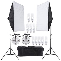 Wholesale Photo Studio Video Continuous Lighting Kit Photography Light Stand Two cm Softbox Ten Bulbs Two Light Holder D1670