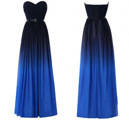 Fashion Gradient Ombre Prom Dresses Sweetheart Black Blue Chiffon New Women Evening Formal Gown Long Party Dress Red Carpet
