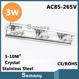 Wholesale 3W Sconce Lighting Led Three Head Length cm Height cm AC85 V CE ROHS Top Stainless Steel Crystal Led Mirror Wall Lamp Bead
