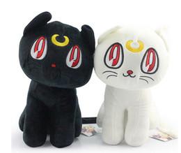 Wholesale El más reciente de Sailor Moon CM envío Negro Gato Blanco Luna y Artemis gato muñeca de la felpa libre del juguete