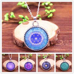 Wholesale FLOWER OF LIFE Pendant Light Blue Pendant Spiritual Jewelry Mandala Necklace Yoga Pendant Jewelry Metaphysical Sacred Geometry Necklace