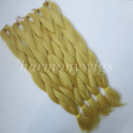 Kanekalon Jumbo braidsing hair 24inch 80g Solid CATKIN YELLOW Color Xpression Synthetic Braids Hair Extension T0755 in stock