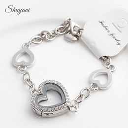 Heart Floating Locket Bracelets for Women with Rhinestone Crystal Bracelet Mix 4 Colors 5pcs Free Shipping