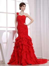 Wholesale Runway Fashion One Shoulder With Sash Ruched Chiffon Multi Level Ruffles Cheap Long Evening Gowns Red Hot Sell Advanced Customization