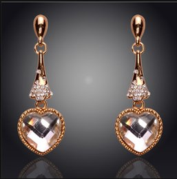 New Fashion Temperament Lovely Heart 18K Gold Plated Austrian Crystal Earrings For Women Fashion Jewelry Free Shipping Wholesale