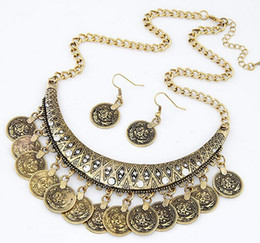Wholesale Cheap Price Fashion Collier Femme Coins Bohemian Pendant Colar Statement Necklaces and Earrings Jewelry