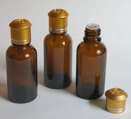 wholesale 30ml amber glass bottle with reducer dropper and tamper evident lid, amber essential oil bottle with screw on cap