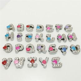 Wholesale 52PCS Lot 8MM Full Rhinestones Heart Slide Letters A-Z Alphabet DIY Slide Charms Fit 8MM Wristbands Bracelets Belts Collars SL12