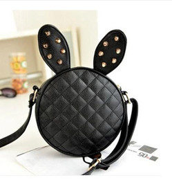 Good Quality Rabbit Ear Bag Women Handbag Round One Shoulder Bag Black Plaid Small Bags PU Mini Bag
