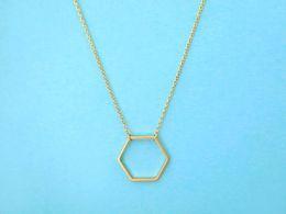 10PCS- N004 Silver Gold Geometric Hexagon Necklace Simple Sexangle Neckalces Open Line Hive Hexagon Necklace for Women