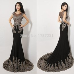 Wholesale 2016 Luxury Sheer Neck Black Formal Evening Prom Dresses Appliques Celebrity Pageant Party Gowns India Arabic