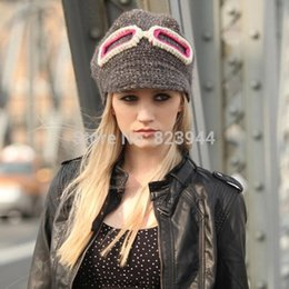 Wholesale Hot sale cute Knitting environment protection fabrics warm winter hat Spectacle frame woman hat all match women hats winter hat