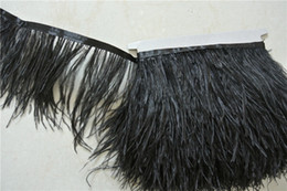 Free Shipping 10yards lot Black ostrich feather trimming fringe on Satin Header 5-6inch in width for crafts