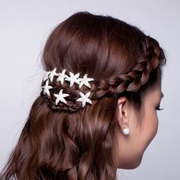 20 Pieces Bride Rhinestone Starfish Hair Pin for Beach Themed Wedding Women Hair Stick Clip Fashion Lady Hair Jewelry drop shipping