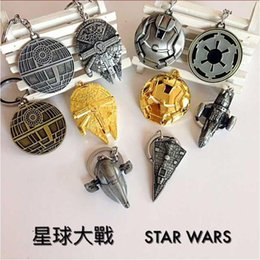 Wholesale Star Wars Keychain Airship Metal Key buckle Star Trek Spaceship Battleship key ring Children cartoon gifts with retail package style
